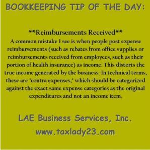 Reimbursements received